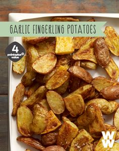Crispy roasted fingerling potatoes are tossed with minced garlic and smoked paprika for fabulous flavor. If they're too spicy, use sweet paprika instead. Only 4 points plus points!