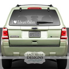 I Love Edward Cullen twilight car decal bumper sticker vinyl lettering. See more decals at www.lacybella.com