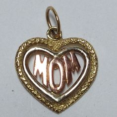 """Estate """"Mom"""" Heart Charm Pendant in Yellow & Rose Gold 14kt MSRP $165 GVM5326 #Traditional"""