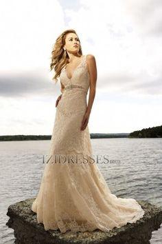 A-line Straps V-neck Lace Wedding Dress - IZIDRESSES.COM