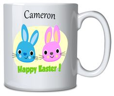 Personalised Mug Easter Bunnies Happy Easter, Easter Bunny, Sublimation Mugs, Vibrant Colors, Colours, Personalized Mugs, Everyday Objects, Bunnies, Presents