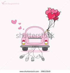 Couple just married on car driving to their honeymoon and holding heart balloons - Vector by pockygallery, via Shutterstock Wedding Day Cards, Indian Wedding Invitation Cards, Wedding Tags, Wedding Paper, Wedding Couples, Wedding Gifts, Just Married Car, Guest Book Tree, Heart Balloons