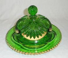 EAPG Green Butter Dish Heisey Glass Co.