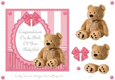 Baby Girl Teddy Bear by Vicky Sumner 6.5 x 6.5 topper with layer elementsPUCU allowed for hand finished items