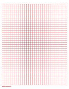Printable 1/4 Inch Red Graph Paper for Letter Paper Line Graphs, Graph Paper, Printable Paper, Free Printables, Templates, Lettering, Squares, Stationary, Journaling