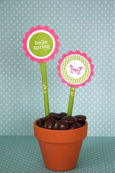 Hello Spring (Pixi Sticks and Hershey drops)