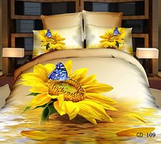 Oil Bedding Sets Home Textile Sunflower Blue Butterfly Bedding Set Queen Size Duvet Cover & Sheet & Case Cotton Christmas Gift, (Comforter Not Included) 3d Bedding Sets, Cotton Bedding Sets, Queen Bedding Sets, Duvet Bedding, Comforter Cover, Duvet Cover Sets, Duvet Sets, Red Comforter, Pillow Covers