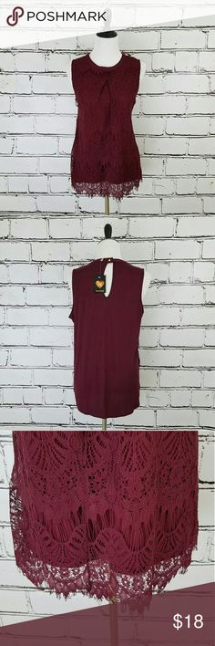 HeartSoul Burgundy Lace Tank! Burgundy lace tank top with plain back. Stretchy material. Runs a little smaller - more fitted extra large or looser fitting large. Length is about 26 inches and armpit to armpit is about 20 inches. Brand new with tags! HeartSoul Tops Tank Tops