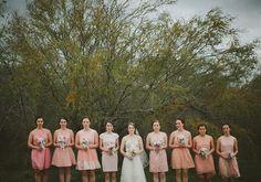 peach bridesmaid dresses  photo by Tessa Harvey   100 Layer Cake