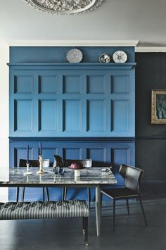 Blue Dining Room | Blue Wall Panelling | Dramatic Dining Room Decor