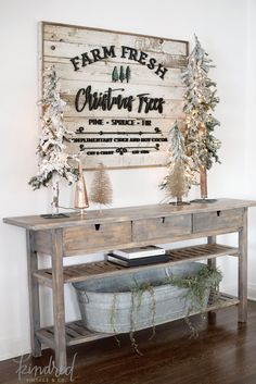 Love this wooden planked sign | Christmas Living Room Decor