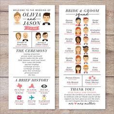 Our Wedding Infografik Hochzeitsprogramm Hochzeitsprogramm Portrait Fun Creative Wedding Programs, Printable Wedding Programs, Unique Weddings, Wedding Ceremony Programs, Fun Wedding Invitations, Wedding Processional Order, Wedding Checklists, Invitation Cards, Romantic Weddings