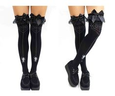 Spider suspend black bow lace gothic stockings socks 3