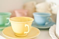 Luray Pastels-My new obsession! Vintage Dishes, Vintage Pyrex, Vintage Items, Taylor Smith, China Tea Sets, Kitchen Products, Baby Party, Teacups, Pastels