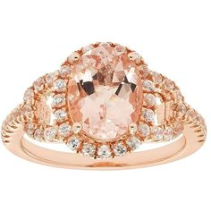 14k Rose Gold Over Silver Morganite & White Zircon Oval Halo Ring ($725) ❤ liked on Polyvore featuring jewelry, rings, pink, 14k ring, pink gold rings, 14k rose gold ring, 14 karat gold ring and silver rings