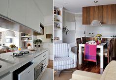 Nesta área, os armários da cozinha são de MDF com pintura branca. No lado voltado para a sala, são de marfim tingido de mel. No corredor de entrada, há um grande espelho horizontal que esconde a caixa de força. As ideias são das designers da In House Design Interiores