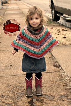 Marie Louise Poncho, a free crochet broomstick lace poncho pattern by KatiDCreations, includes tips for sizing up to adult