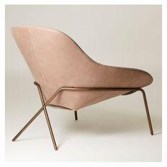 Cross Leg Lounge Chair Old Velvet Leather