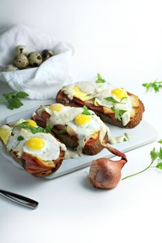 open faced quail egg breakfast sandwich (croque madame)   @andwhatelse