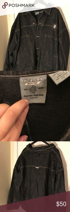 Rocawear Men's dark charcoal denim jean jacket Gently used Men's rocawear charcoal denim jacket. My husband hardly ever used it. Pretty heavy still has life in it, been sitting in storage long time needs to go to a good home 🤗 Rocawear Jackets & Coats