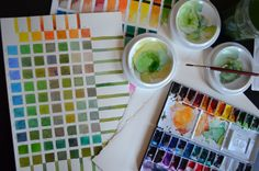 Testing new paper (Fabriano Artistico, 140lb, hot pressed) and playing with green mixes.