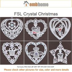FSL Christmas Ornament Hot-fix Crystal Machine Embroidery Design Free Standing Lace Instant Download 4x4 hoop 10 designs APE1868