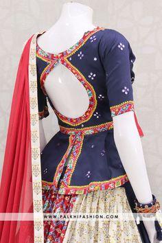 12 Meter Gorgeous Peplum Top Blue Chaniya Choli Set With Appealing Work Palkhi fashion presents blue premium silk full flair navratri chaniya choli with resham weaving & patola work.Peplum blouse with maroon pure chiffon dupatta Blouse Designs High Neck, Half Saree Designs, Choli Designs, Fancy Blouse Designs, Stylish Dress Designs, Peplum Top Outfits, Peplum Blouse, Peplum Dresses, Saree Blouse