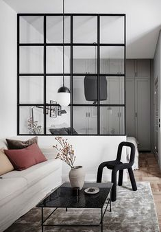 Industrial living room with glass partition. Source: Interior of the house at www. Industrial living room with glass partition. Source: Interior-house at www. room room room decoration ➳Myrt➳ on. Small Living Rooms, Living Room Designs, Living Room Decor, Deco Studio, Modern Minimalist Living Room, Modern Living, Apartment Design, Apartment Living, Open Plan Apartment