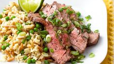 Thai Flank Steak With Rice Pilaf Recipe with 6 ingredients Beef Recipes, Healthy Recipes, Delicious Recipes, Easy Recipes, Tasty, Yummy Food, Food Dishes, Main Dishes, Rice Pilaf Recipe