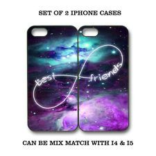 Custom Mint Purple Nebula BFF Best Friends Case -2 Cases For iPhone 4 / 4S/ 5 5S