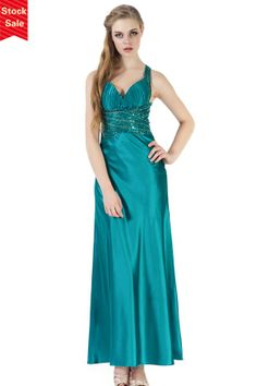 Turquoise Open Back A-line Satin Prom/Evening Dress JSLD0129