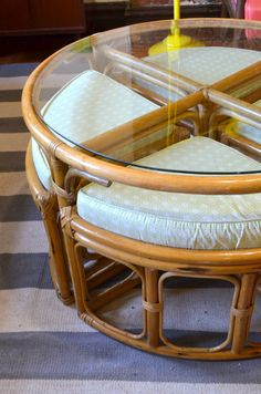 Fantastic '60s coffee table with stashed stools--Parsimonia {Secondhand With Style}