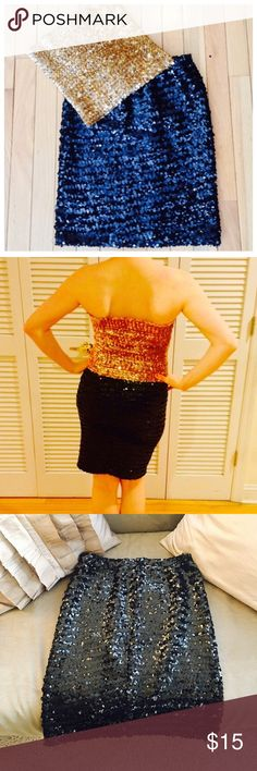 """Vintage Black Sequin Skirt Stretchy material! Vintage so worn, but does not appear to be missing any sequins! Doesn't have a size listed, but it's definitely a small. Measures 27"""" around waist and length is 19"""". Moda International Skirts Mini"""