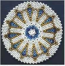 Blue and Gold Beaded Mandala