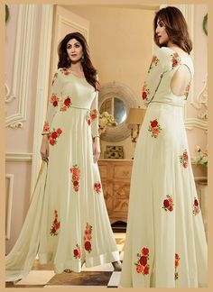 Shilpa Shetty In Off White Georgette Anarkali Suit Pakistani Outfits, Indian Outfits, Kurta Designs, Blouse Designs, Western Gown, Indian Fashion, Style Fashion, Fashion Beauty, Designer Anarkali