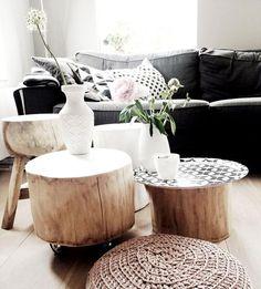 Tocos e troncos de madeira para decorar a casa