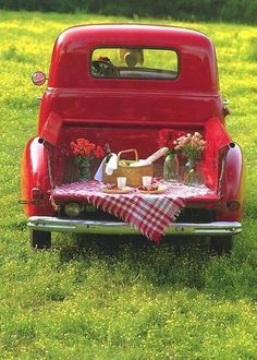 If you live where it's warm, take your girl/guy to the country for a tailgate picnic in your classic old pickup truck. Country Life, Country Girls, Country Charm, Country Living, Country Style, Country Roads, Auto Retro, Old Pickup Trucks, Chevy Trucks