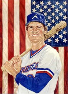 Dale Murphy (ATL) - My mom's favorite player and the first player my daughter recognized by sight at about 21 months. Baseball Painting, Baseball Art, Braves Baseball, Better Baseball, Baseball Jerseys, Baseball Stuff, Baseball Field, Mlb Players, Baseball Players