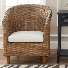 Safavieh St Thomas Indoor Wicker Honey Brown Barrel Chair FOX6501A Cotton