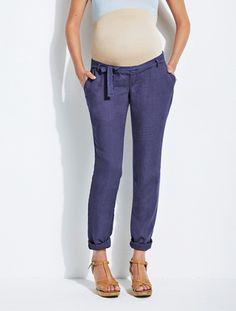 """Regular Linen Maternity Trousers - Inside Leg 30"""""""