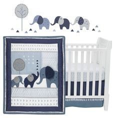 Design a playful environment for your little dreamer with the Lambs & Ivy Indigo Elephant Crib Bedding Set. Sporting a patchwork of elephant pals in soft blue hues, this cozy set includes all essentials for a cute, coordinated space. Elephant Crib Bedding, Baby Crib Bedding Sets, Elephant Nursery, Bedding Shop, Nursery Boy, Baby Boy Rooms, Baby Boy Nurseries, Baby Cribs, Baby Beds