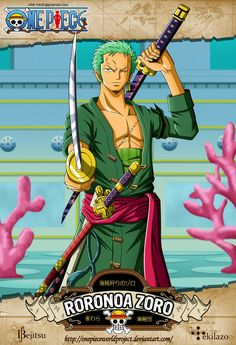 One Piece - Roronoa Zoro by OnePieceWorldProject - anime Anime One Piece, One Piece Équipage, One Piece Drawing, Zoro One Piece, One Piece World, 0ne Piece, Manga Anime, Anime Guys, Anime Art