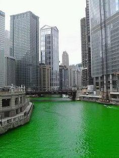Chicago River on Saint Patrick's Day. I was in Chicago last year when they dyed the river green but the crowd was so huge we never got to see it :(