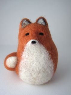 Red Fox Needle Felted Wool Sculpture  For tomten and the fox...