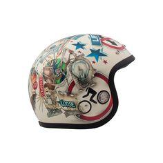 CASCO JET DMD VINTAGE VISION - SpacioBiker Motorcycle Helmet Design, Cafe Racer Helmet, Blue Motorcycle, Custom Paint Motorcycle, Vespa, Vintage Helmet, Vintage Racing, Moto Cafe, Indian Motorcycles