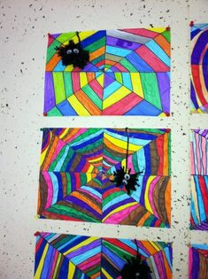 Regenboog spinnenweb - One day art project during Halloween? Art Halloween, Halloween Art Projects, Fall Art Projects, Classroom Art Projects, School Art Projects, Art Classroom, Halloween Spider, Fall Crafts, Arts And Crafts