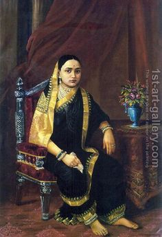 Oil on Canvas Painting by Raja Ravi Varma: Maharani Chimanbai Ravivarma Paintings, Indian Paintings, Vintage India, Duleep Singh, Raja Ravi Varma, Contexto Social, Saree Painting, Mother India, Royal Indian