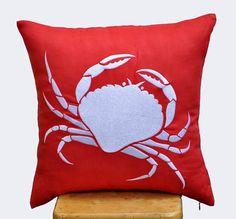 Coastal Pillow Cover, Decorative Pillow, Throw Pillow, Red Orange Linen, White Crab, Embroidered, Pillow Case, Toss Pillow, Home Decor