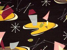 Midcentury Curtains, Antique Prints, Martini, Mid Century, Retro, Antiques, Wallpaper, Fabric, Inspiration