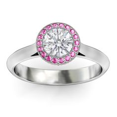 Cathedral Round Diamond Engagement Ring Pink Sapphires Halo. >> Pink saphire as the middle stone or as the outside setting around a diamond. A simple/solid band, not a fan of jewels all the way around the band. And I don't want it very big